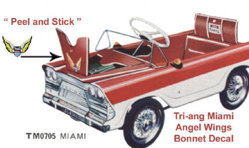 "Bonnet decal "" Peel & stick "" for Tri-ang Triang "" Miami - Angel "" Pedal Car"
